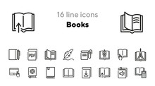 Books Line Icon Set. Novel, In...