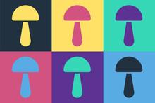Pop Art Psilocybin Mushroom Icon Isolated On Color Background. Psychedelic Hallucination. Vector Illustration