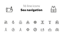 Sea Navigation Line Icon Set. Set Of Line Icons On White Background. Lighthouse, Steering Wheel, Ship. Travel Concept. Vector Illustration Can Be Used For Topics Like Sea Trip, Tourism, Cruise