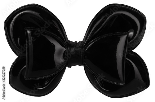 Hair bow tie black modern isolated on white background Canvas Print