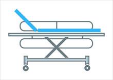 Hospital Transportation Bed Medical Stretcher Outline Symbol Vector