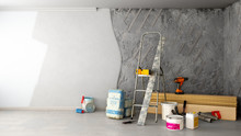 Apartment Repair Concept Repair Tools And Materials Stand In A Ruined Room 3d Render Image