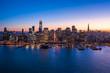 San Francisco downtown buildings skyline aerial sunset evening