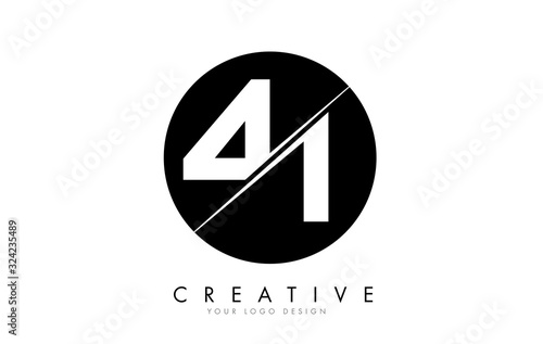 Papel de parede 41 4 1 Number Logo Design with a Creative Cut and Black Circle Background