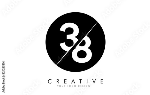 Papel de parede 38 3 8 Number Logo Design with a Creative Cut and Black Circle Background