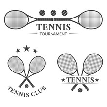 Tennis Logo Or Badge Set With Two Crossed Rackets And Tennis Balls. Vector Illustration.