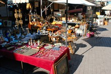 Souvenirs And Vintage Items On A Stall At Street Market In Athens. Greece