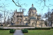 Warsaw, Poland - January 2020. Saint Anne Church In Wilanow With Neo-Renaissance Facade Near Wilanow Palace. Collegiate Church Of Saint Anne In Wilanow. Tourist Attraction
