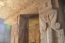 Interior Of The Temple Of Hathor/Nefertari On The Sunrise, Abu Simbel, Egypt. One Of The Main Sights Of Egypt
