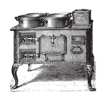 Old Kitchen Oven / Vintage Illustration From Brockhaus Konversations-Lexikon 1908