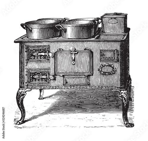 Fototapeta Old kitchen oven / vintage illustration from Brockhaus Konversations-Lexikon 1908 obraz