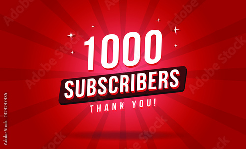 Tablou Canvas 1000 subscribers thank you vector banner