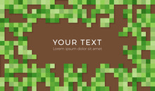 Abstract Pixel Background Illustration. Seamless Green And Brown Tiles Backgruond With Shadows.