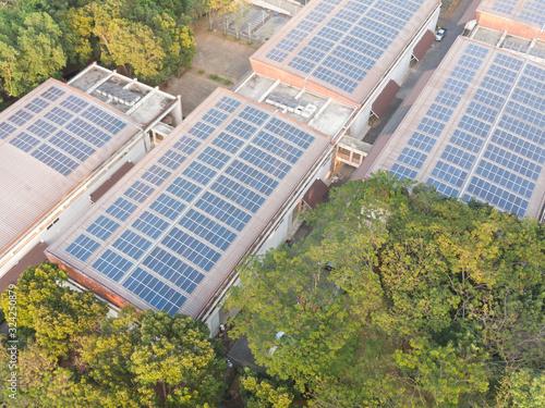 Aerial view photo of solar panels Wallpaper Mural