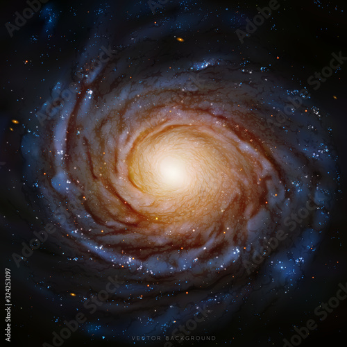 Vector illustration with spiral galaxy. Space dark background with realistic astronomical object in cosmos. Elements of this image furnished by NASA