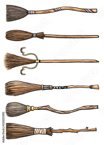 Big set of six different magical wooden brooms Wallpaper Mural