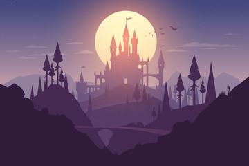 Landscape with castle and sunset illustration