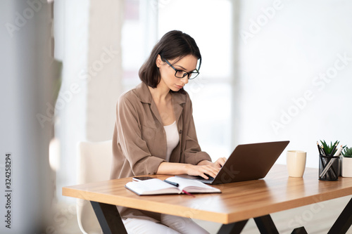 Woman using her personal computer at home