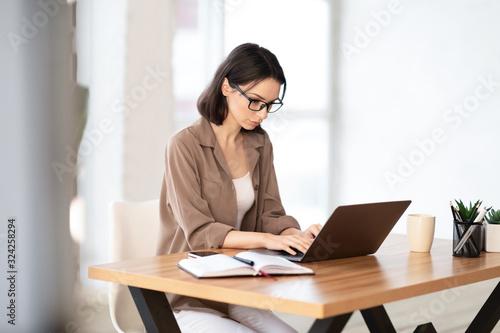 Fototapeta Woman using her personal computer at home obraz