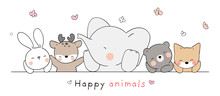Draw Happy Animal On White For Spring.
