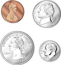 A Collection Of Coins In Vector Format