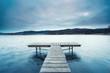 Leinwandbild Motiv einsamer alter Holzsteg am See