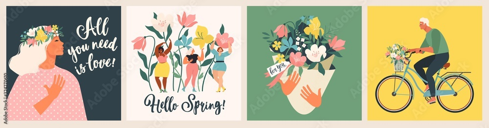 Fototapeta Happy Womens Day March 8! Cute cards and posters for the spring holiday. Vector illustration of a date, a woman and a bouquet of flowers!