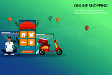 Business Concept Of Online Shopping, A Man Is Searching On His Laptop To Find A New Pant And Sit Near Scooter And A Big Smartphone Which Contain List Of Products, Customer Rating And Review.