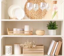 White Shelving Unit With Dishw...