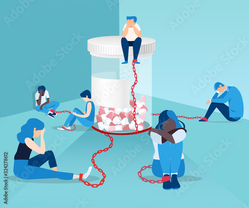 Vector of people opioid addicts chained to the bottle of painkiller pills Canvas Print