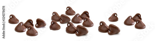 Fototapeta Chocolate chip morsels isolated on white background obraz