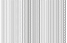 Sewing Stitches. Vector. Embroidery And Sew Seamless Pattern. Set Of Machine Thread Seam Brushes. Overlock Zigzag Elements. Line Border Isolated On White Background. Simple Illustration.