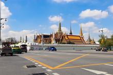 Bangkok, Thailand - 1 December 2019: Roof Tops Of Grand Palace From Corner Of Sanam Chai Wat Phra Kaew And Na Phra Lan Roads.