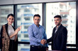 Business people shaking hands, Power of cooperation, Business team concept
