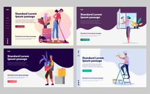 Cleanup And Housekeeping Set. Man And Woman Vacuuming, Washing Window, Painting Wall. Flat Vector Illustrations. Cleaning, Service, Domestic Work Concept For Banner, Website Design Or Landing Web Page