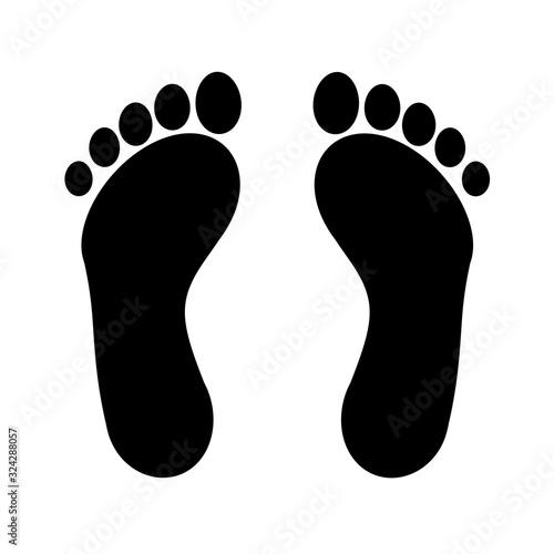 Human footprints icon. Raster illustration Wall mural