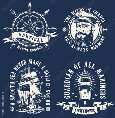 Fototapeta Vintage marine emblems obraz