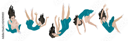 Fotografia Woman is falling down. Vector isolated illustration