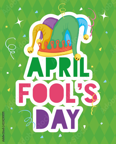 Obraz na plátne happy april fools day card with lettering and buffoon hat