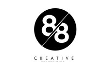 88 8 Number Logo Design With A Creative Cut And Black Circle Background.