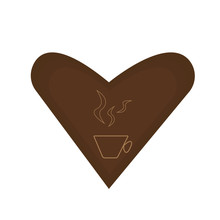 Coffee Logo Brown Heart Pattern Cup And Steam