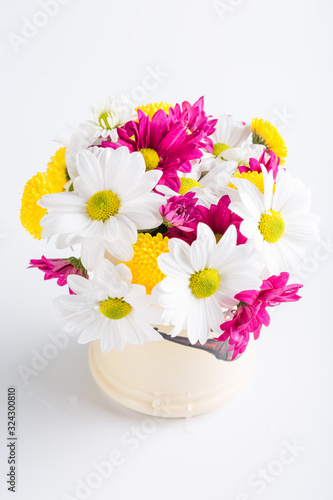 Fototapety, obrazy: Spring bouquet of chrysanthemum flowers, floral background, Women's Day