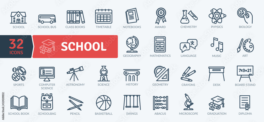 School Icons Pack. Thin line icons set. Flaticon collection set. Simple vector icons