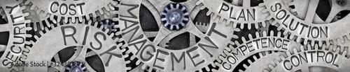 Fotografie, Obraz Metal Wheels with Risk Management Concept