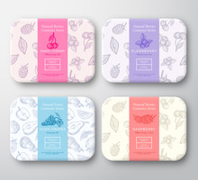Cherry, Raspberry, Blueberry And Grapes Cardboard Boxes Set. Abstract Vector Wrapped Paper Cosmetics Container With Label Cover. Packaging Design. Hand Drawn Berries Background Pattern Layout.