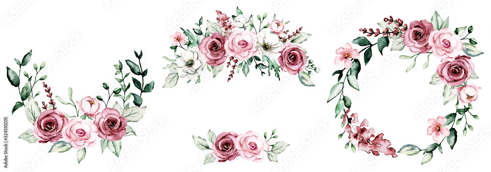 Fototapeta Wreaths with watercolor flowers, floral set frame with pink roses for greeting card, invitation, wedding print and other printing design. Isolated on white. Hand drawing.