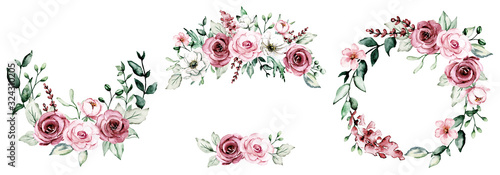Fotomural Wreaths with watercolor flowers, floral set frame with pink roses for greeting card, invitation, wedding print and other printing design