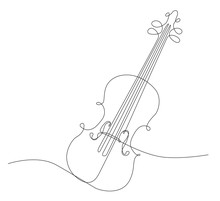 Disegno A Singola Linea Continua Di Violino