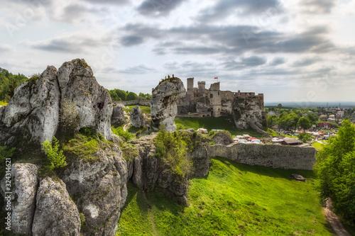 Obraz na płótnie zamek ogrodzieniec, wiosna, polska