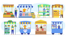 Street Shops Stall Market, Vendor Booths And Farm Market Food Counters Vector Flat Cartoon Icons Set, Vector Illustration. Vegetables, Fish Store, Bakery Kiosk And Meat Shop Street Fair Marketing.